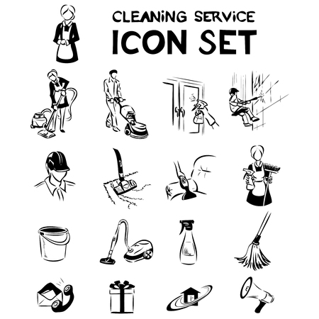 cleaning service: Set of cleaning service icons, labels and designed elements. Vector hand drawing by lines