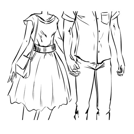 Young modern couple are on a date. Man and woman walk and hold hands. Front view. Vector color cartoon, drawing by black lines. Comics style