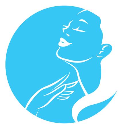 La mujer vector plantilla de diseño del símbolo. Perfil de la muchacha es adecuado para los cosméticos, belleza, salud, spa, temas de moda. icono Creative