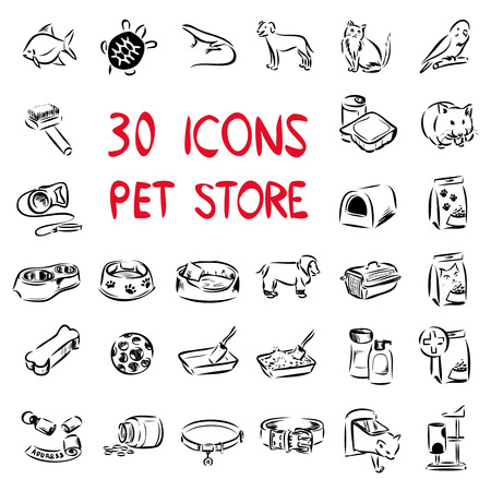 Big set of vector icons drawn by lines. Set includes pictures for main sections of pet store: animals, food, collar, pet carrier, cage and houses, scratching post and others.