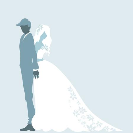 Trouwdag uitnodiging kaart met silhouet van paar. Romantische bruid en bruidegom staan en het omhelzen. Vector kleur cartoon. Stock Illustratie