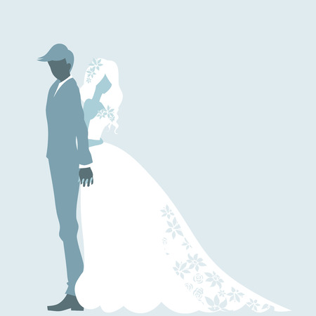 Wedding day invitation card with silhouette of couple. Romantic bride and groom are standing and embracing. Vector color cartoon.