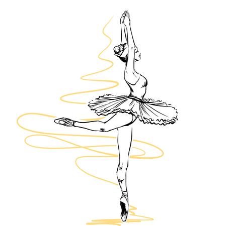 Plastique élégante danseuse montre des éléments de ballet classique. Elle porte tutu et pointes traditionnel. Isolé sur fond blanc Vecteurs