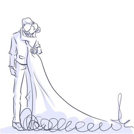 Trouwdag uitnodiging kaart met silhouet van paar. Romantische bruid en bruidegom staan en het omhelzen. lijn kleur cartoon.