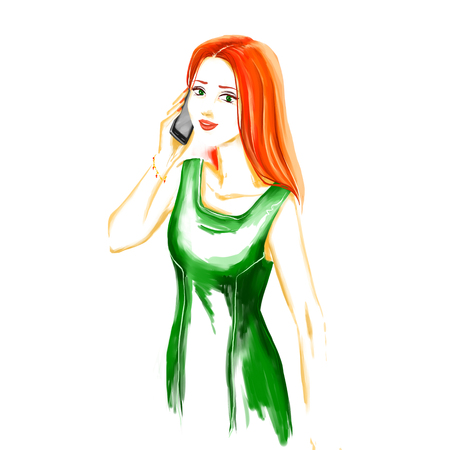 greeen: Portrait of young glamour fashion girl in greeen evening dress. She is talking by mobile phone. Watercolor digital imitation drawing on white background. Fashion drawing available in high-resolution for your design.