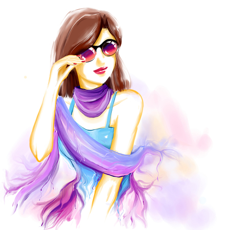 Portrait of young pretty glamour girl with sunglasses. Watercolor digital imitation drawing on white background. Fashion drawing available in high-resolution. Stock Photo
