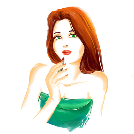 elegant woman: Portrait of young glamour fashion girl with red stick. She is making up with a lipstick. Watercolor digital imitation drawing on white background. Fashion drawing available in high-resolution. Stock Photo