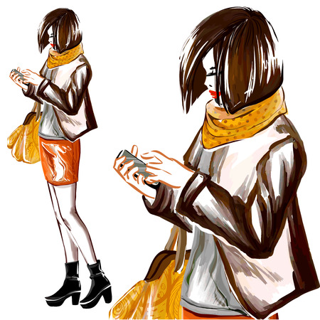 autumn woman: Young girl stands and holds her mobile phone.  Woman wears stylish autumn clothes. Image full length. Digital watercolor imitation