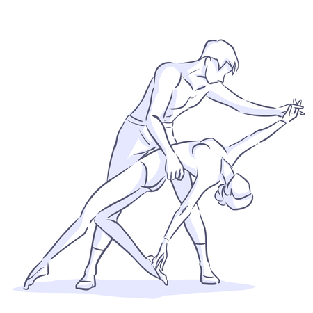 flexible woman: Handsome man and flexible woman dance modern ballet. Couple shows love and passion through their sensual movements. Symbolic drawing. Illustration