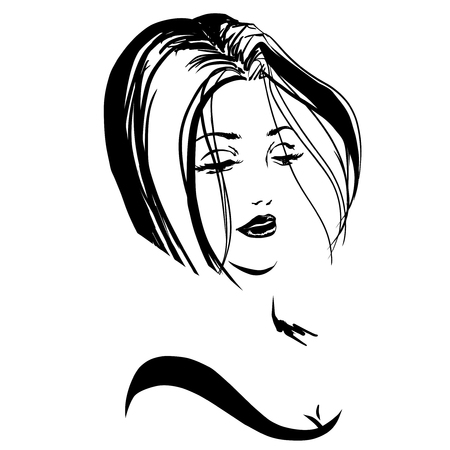 sexy image: Head of perfect sexy woman with short haircut. Emblem for hairdressers salon. Black and white image, sketch