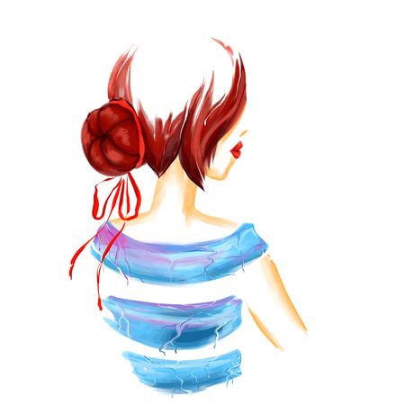 Portret młodych glamour Dziewczyna z brązowe włosy kok. Widok z tyłu. Akwarela cyfrowy imitacja rysunek na białym tle. obraz. Raster non-odszukane kopia jest dostępna. Ilustracje wektorowe