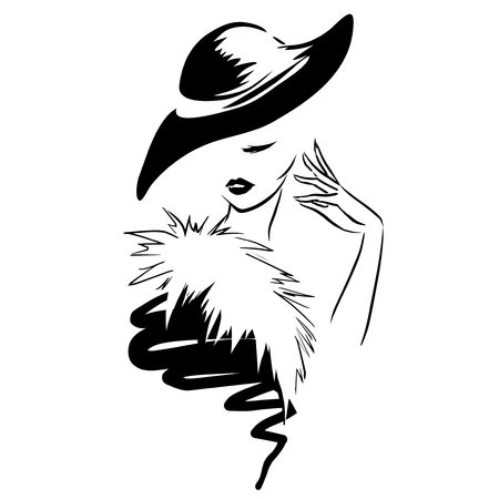 black and white image drawing: glamour woman in hat. Retro style. Black and white image Illustration