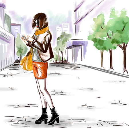 autumn woman: Young stylish girl with her mobile phone stands on the street. Woman wears autumn clothes. Urban view. Digital watercolor imitation