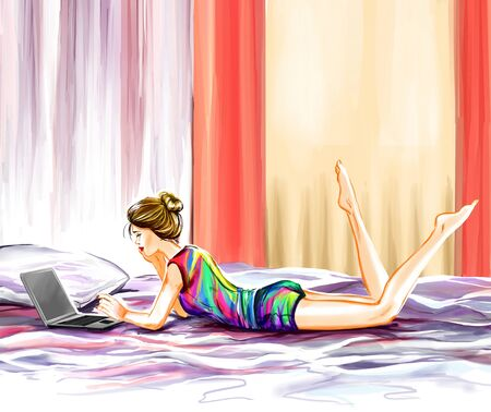girl laptop: The young glamour woman has a rest in her room. Girl lies on a bed and watches the movie on the computer laptop. Digital watercolor drawing imitation. Stock Photo