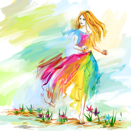 The young barefoot woman at the light chiffon dress runs on flower ground. Image concept is youth, lightness, happiness, spring, springtime. Bright digital imitation of watercolor drawing.
