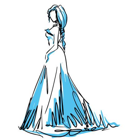 evening dress: Slender elegant girl in evening dress. Fashion sketch, scribble Illustration