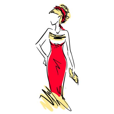 Slender elegant girl in evening dress with clutch. Fashion sketch, scribble. Illustration