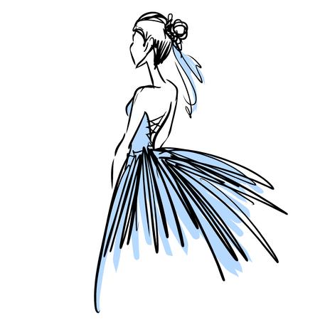 is slender: Slender elegant ballerina in evening dress. Fashion sketch, scribble. Illustration