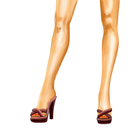 Elegant straight female legs in high heels. Confident pose. drawing is slightly higher than a knee. Watercolor digital isolated image on white background.