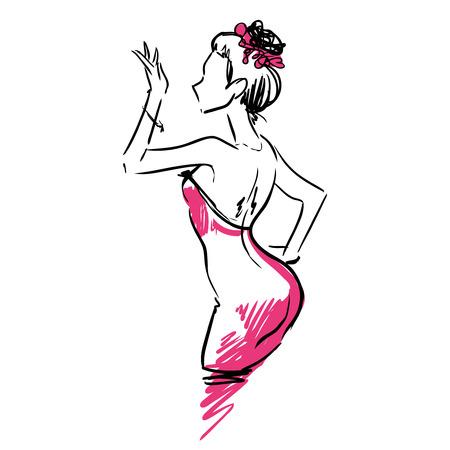 is slender: Slender sexy elegant girl in  evening dress. Profile view. Fashion sketch, scribble. Illustration