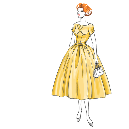 Young elegant girl wears dress with gloves. Dress model and womans haircut are suitable for retro style. Illustration