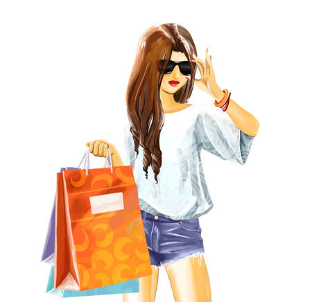 elegant girl in summer clothes with sunglasses. Woman holds a few shopping bags. Watercolor digital hand drawing.