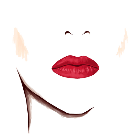 seductive: Closeup portrait of woman. Bright sensual lips on blank face. Watercolor digital isolated drawing on white background.