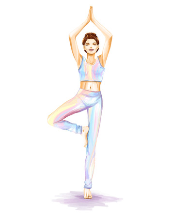 The young sports girl does yoga exercise for improvement of balance. Themes are harmony and sport. Watercolor hand illustration in pastel tones