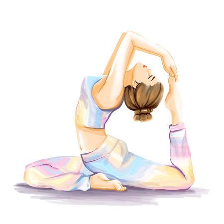 Joven chica de deportes flexy hace ejercicio de yoga para la mejora de estiramiento y flexibilidad. El tema es la salud y el deporte. Ilustración de la acuarela en tonos pastel