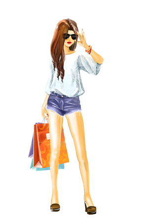 happy shopper: sexual elegant girl in summer clothes with sunglasses. Woman holds a few shopping bags. Full length view.