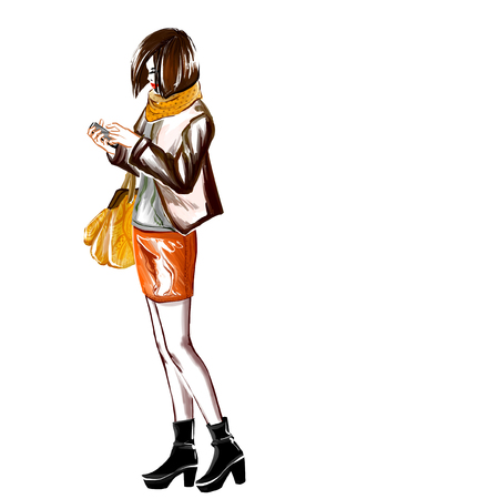 autumn woman: Young girl stands and holds her mobile phone.  Woman wears stylish autumn clothes. Image full length. Digital watercolor imitation.
