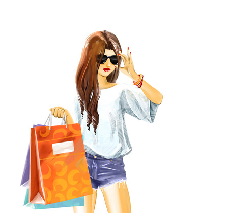 few: sexual elegant girl in summer clothes with sunglasses. Woman holds a few shopping bags.