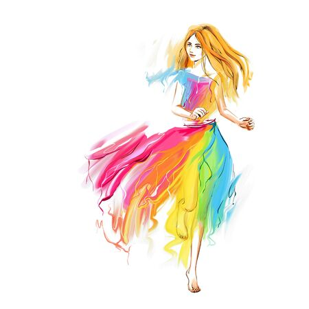The young barefoot woman at the light chiffon dress runs. Image concept is youth, lightness, happiness, spring, springtime. Stock Photo