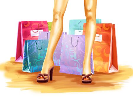 woman legs: Young elegant woman legs and a lots of shopping bags behind girl. Shopping theme.