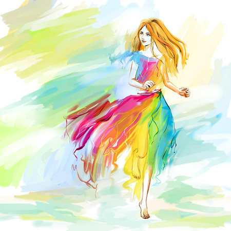 lightness: The young barefoot woman at the light chiffon dress runs. Image concept is youth, lightness, happiness, spring, springtime. Bright digital imitation of watercolor drawing. Stock Photo