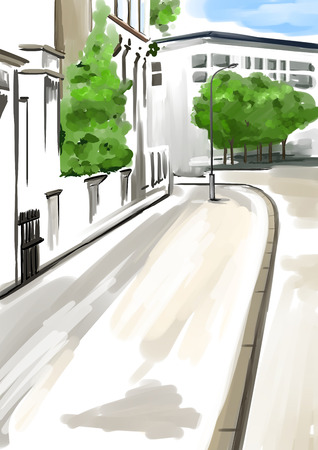 fronts: Watercolor digital urban panorama. Street with fronts of a buildings, sidewalks an some trees. Hand drawing in pastel grey and brown colors.