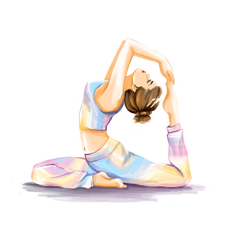 flexibility: Young flexy sports girl does yoga exercise for improvement of stretching and flexibility. Theme is health and sport. Watercolor hand illustration in pastel tones