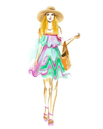 4c029a663e3bf7 Elegante glamour jonge vrouw met een mooi gezicht en lange benen. Meisje  draagt â€