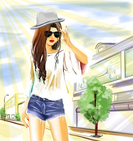 Young sexual slender woman stands on street with shops. Girl wears jeans shorts, hat and sunglasses. Summer hot weather with sunbeams. Urban city panorama is on background. Watercolor digital hand drawing. Stock Photo