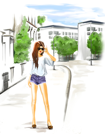 Elegant fashionable young woman stand on a city street. Girl wears short summer jeans and big dark sunglasses. Travel theme. Watercolor digital painting on white background.
