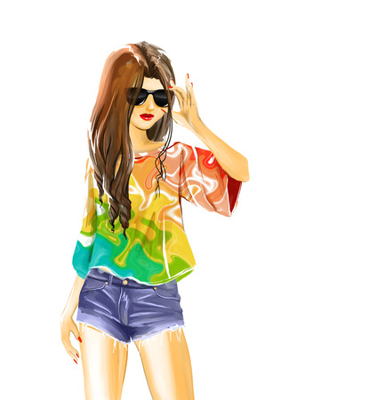 wears: Young sexual slender standing woman. Girl wears jeans shorts, bright color shirt and sunglasses. She look very sexual. Watercolor digital isolated drawing on white background. Stock Photo