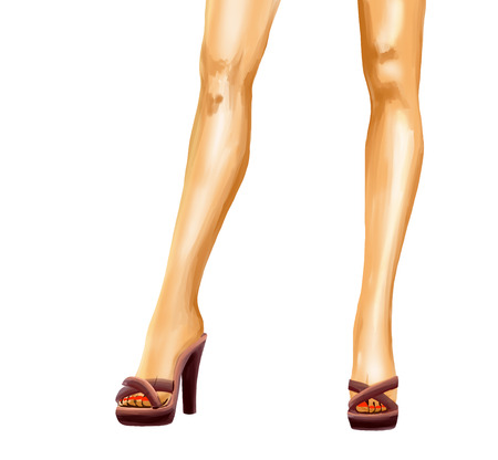 legs heels: Elegant beautiful straight female legs in toeless shoes with high heels. Confident pose. drawing is slightly higher than a knee.   Watercolor digital isolated image on white background.