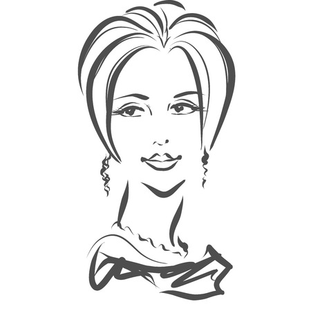 perfect face: Portrait, face of girl. Luxury beautiful adult woman with perfect haircut in evening dress. Black and white vector, isolated drawing. Scribble, sketch style. Stock Photo