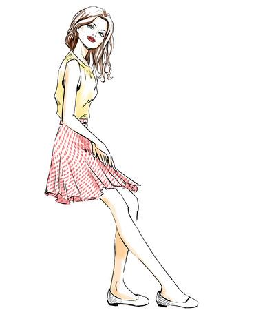 Sketch of beautiful woman at summer dress. Girl with a smoky eyes, sensual lips. Fashion illustration, freehand drawing. Aquarelle imitation. Stock Photo