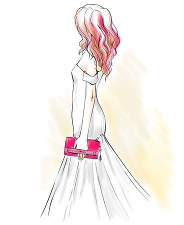Beautiful elegant woman at an evening dress holding a clutch. Girl stands back. Fashion illustration, freehand drawing.    Watercolor style.