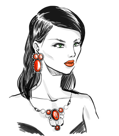 Beautiful elegant woman wearing vintage jewelry  set with  natural stones.  Fashion illustration, freehand drawing by lines, vector.