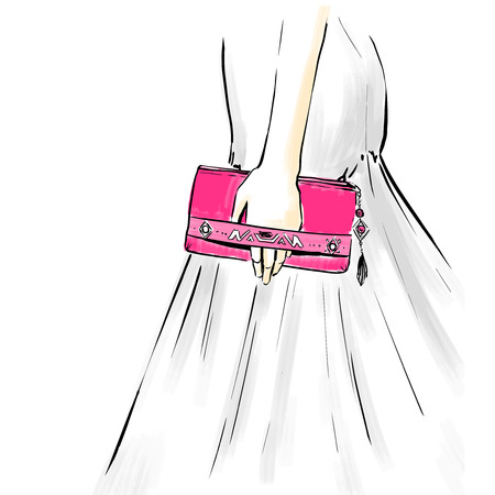 woman close up: Beautiful elegant woman at an evening dress holding a clutch. Close up image with a hand and clutch.   Fashion illustration, freehand drawing by lines, vector.