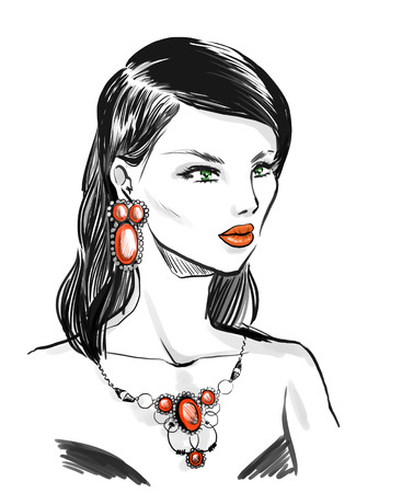bijoux: Beautiful elegant woman wearing vintage jewelry  set with  natural stones.  Fashion illustration, freehand drawing by lines Stock Photo