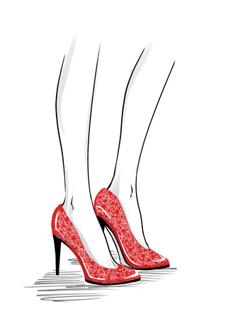 legs heels: Elegant beautiful woman legs wearing spectators with a high heels. Close up image of modern court shoes. Fashion illustration, freehand drawing by lines