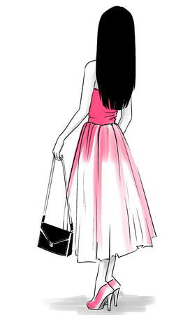 woman back: Elegant woman in evening dress with a clutch standing back. Freehand drawing on white background Stock Photo